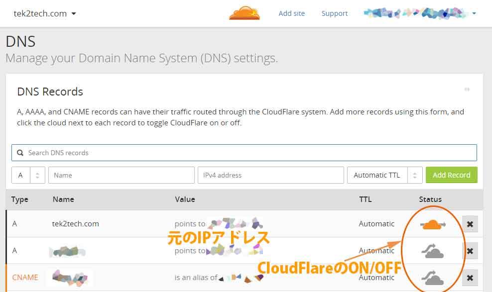 CloudFlareの設定画面
