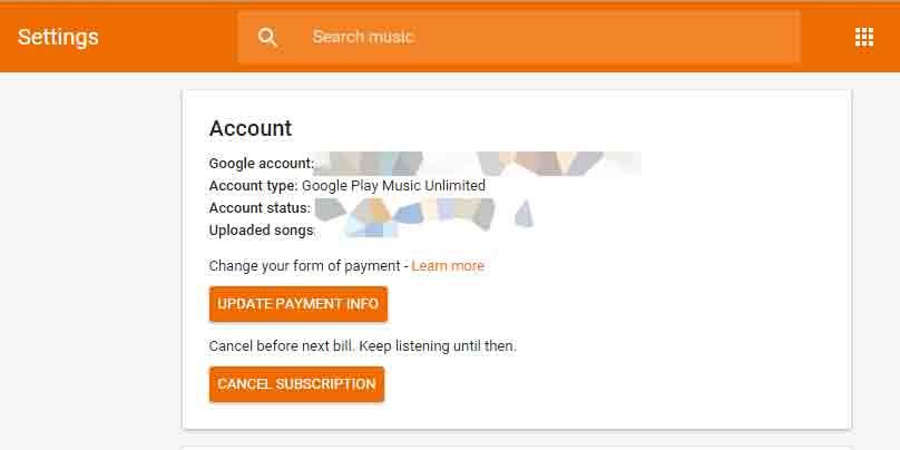 Google Play ミュージック(無制限)設定画面
