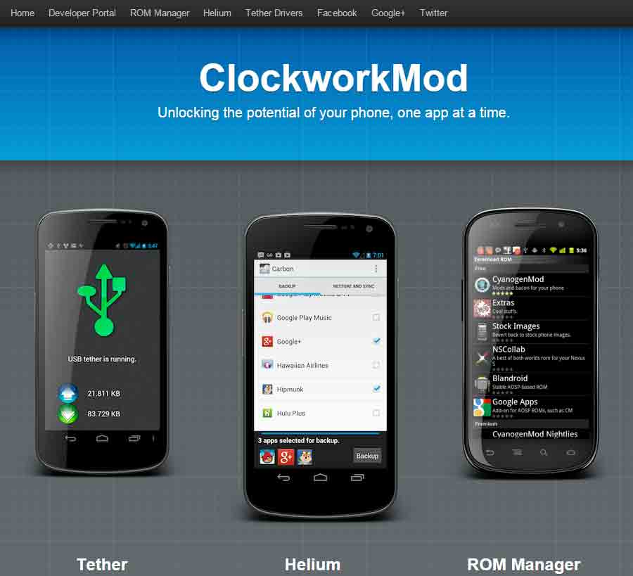 ClockworkModのサイト