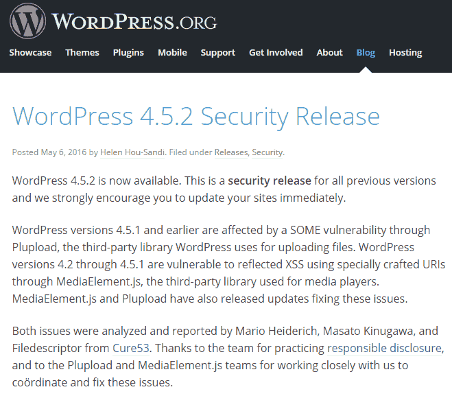 Wordpress-452-update