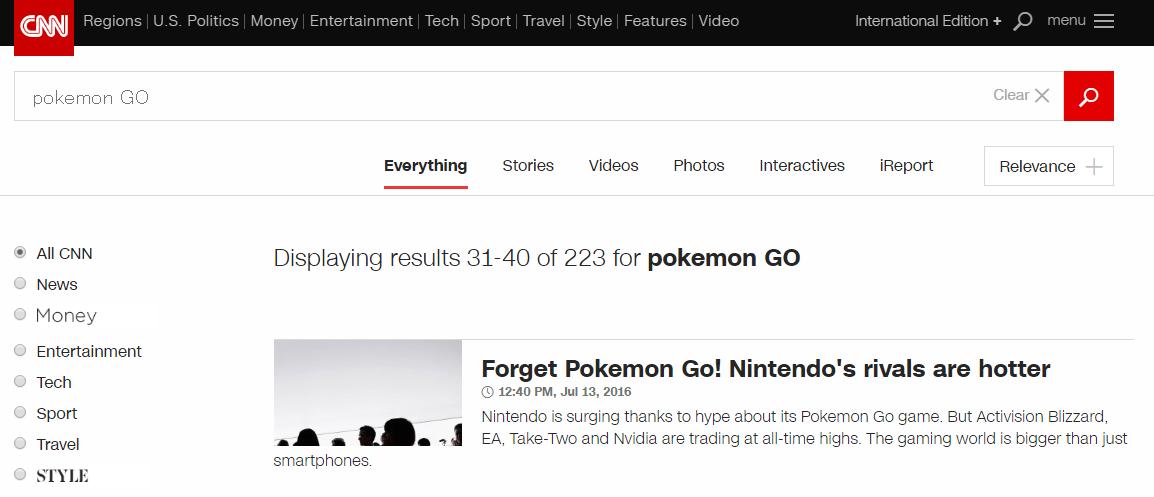 「POKEMON GO」をCNN.comで検索